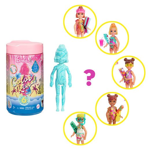 �Barbie Chelsea Colour Reveal Surprise Doll - Sand and Sun Series (Styles Vary)
