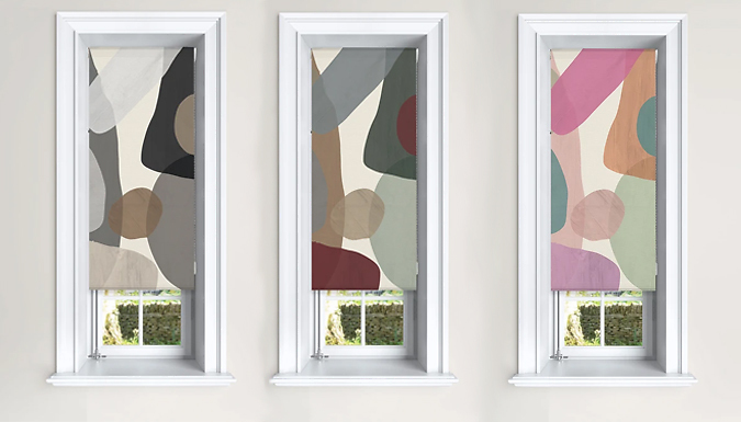 Blackout Modern Abstract-Design Roller Blinds - 3 Colours & 6 Sizes